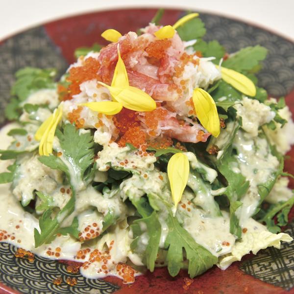 ずわい蟹と春菊の白菜サラダ