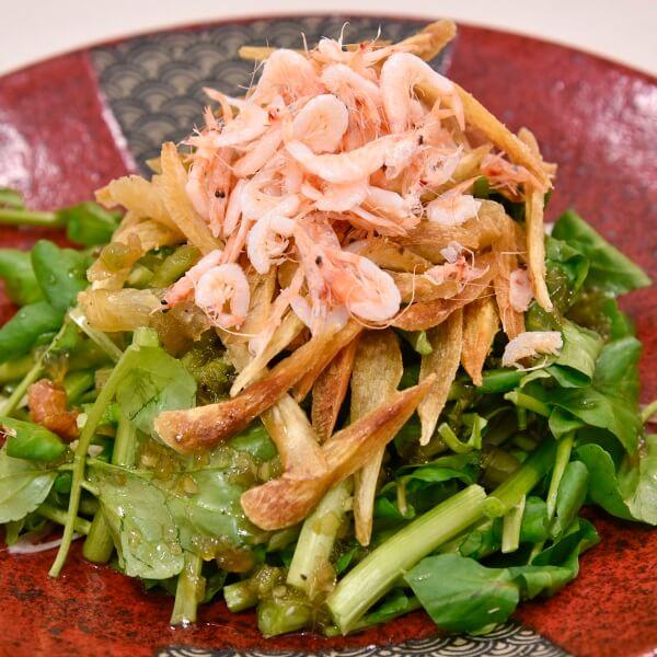 桜海老と牛蒡のクレソンサラダの画像