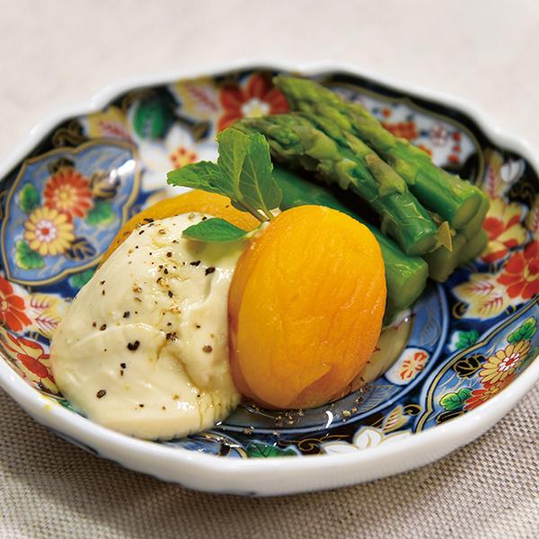 杏とアスパラのクリームチーズ白和え
