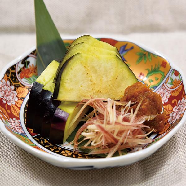 水茄子の刺身 ピリ辛茗荷味噌