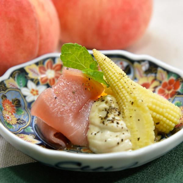 桃とヤングコーンのクリームチーズ白和えの画像